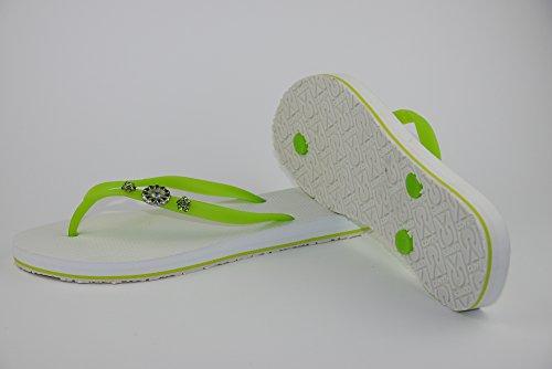 COVY'S jandals green tea/white #5115 women (Zehentrenner, Sandale, DIY, Pins) green tea/white