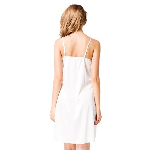 ETAOLINE Femmes Satin Chemise De Nuit Dentelle Soie Pyjamas Nuisettes Robes Blanc