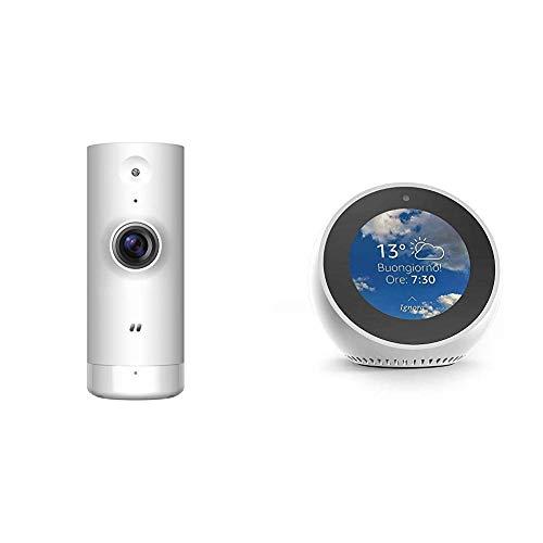 Echo Spot bianco + D-Link DCS-8000LH Mini Telecamera HD, Wi-Fi, Visualizzazione Grandangolare 120°, Registrazione Cloud Gratuita, Funziona con Alexa