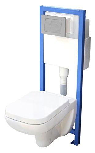 All-In-One-Set V3: Lavita Vorwandelement inkl. Drückerplatte mattverchromt + Wand WC ohne Spülrand + WC-Sitz mit Soft-Close-Absenkautomatik