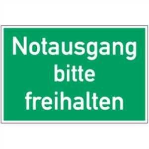 Schild Notausgang bitte freihalten PVC 20 x 30cm