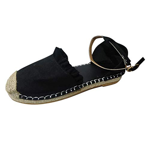 COZOCO Sommer Flache Sandalen Aus Stroh-Leinen Mode Retro Flache BeiläUfige Schuhe Schnalle RüSche Pumps Damenschuhe(Schwarz,40 EU) - Spike Heel Classic Pump
