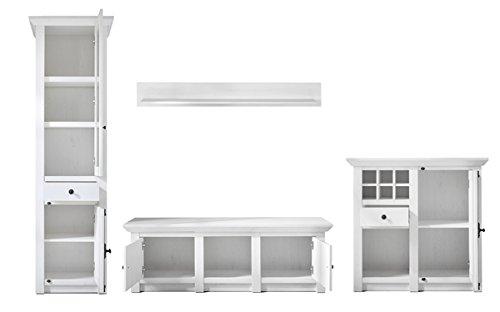 Wohnwand Anbauwand mit Highboard & Vitrine 440972 pinie weiß 4-teilig - 3