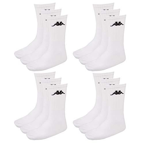 Kappa 12 Paar SONOTU 3 Sportsocken Gr. 35-46 Unisex Tennissocken, Socken & Strümpfe:43-46, Farbe:White