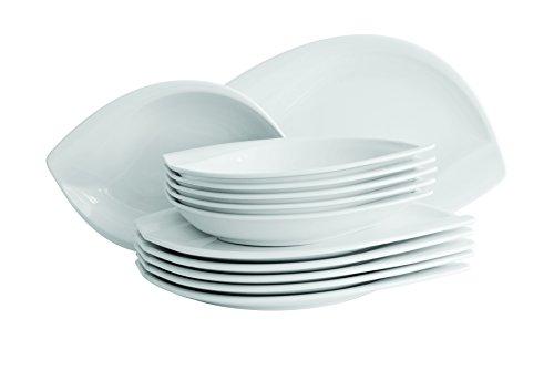 Mäser, Serie Leaf, Tafelservice 12-teilig, Porzellan Geschirr-Set für 6 Personen