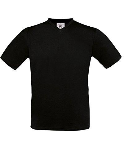 B & C Herren Exact V-Neck T-Shirt Black