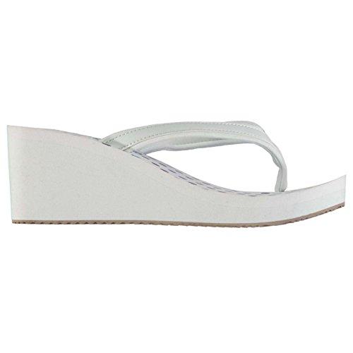 SoulCal Damen EVA Wedge Flip Flops Zehentrenner Keilabsatz Pantolette  Sandalen Weiß/Marineblau