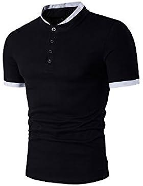 [Patrocinado]HerZii Elegante Corta Manga Camisetas Polos con Botons para Hombre