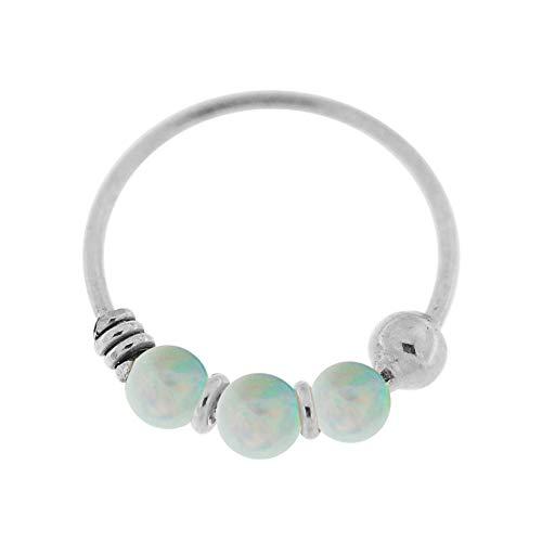 9K Weißgold Triple White Opal Bead 22 Gauge Hoop Nase Piercing Ring Schmuck