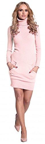 Glamour Empire. Donna Vestito maglia aderente con tasca frontale collo alto 178 Rosa Cipria