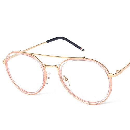 Runde Flache Spiegelglas Kröte Brillengestell für Frauen. Brille (Farbe : Gold Frame-pink)