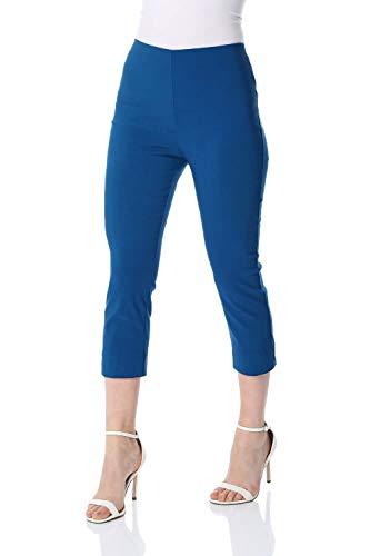 Royal Blue Womens Capris (Roman Originals Damen Bengalin-Knöchelhose aus Stretch-Material - Damen mittellange Capri-Pull-on-Hosen - Sommer, Urlaub, tagsüber, Knöchelhose- 40 Farben,Petrol Blue,40 (12))