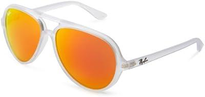 Ray-Ban CATS 5000 Aviator Sunglasses in Matte Transparent Orange Mirror RB4125 646 69 59