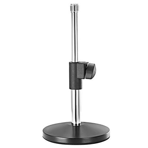 """Neewer Supporto Stand di Microfono da Tavolo 14-22cm Regolabile con Vite Adattatore 3/8"""" & 5/8"""" per Trasmissioni e Registrazioni Sonore in Studio, Casa (Argento)"""
