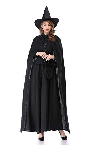 XSQR Halloween Karneval Frau Umhang Hexe Make-Up Cosplay Ball Kostüm Schwarz,Black,L