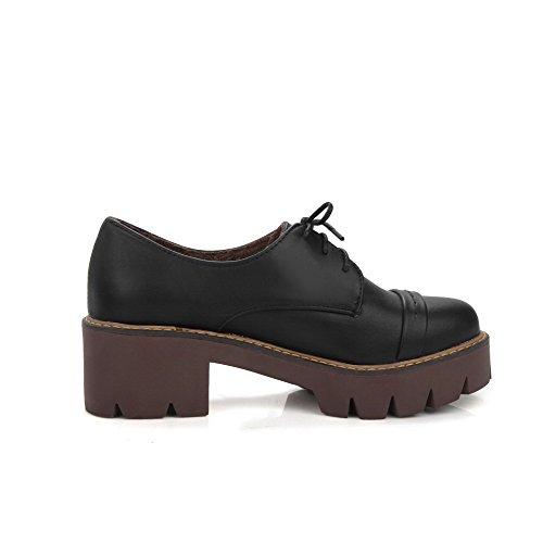 AgooLar Femme Pu Cuir à Talon Correct Rond Couleur Unie Lacet Chaussures Légeres Noir