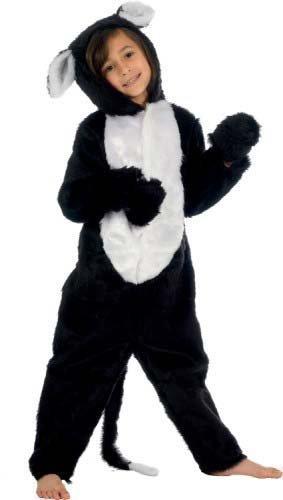 Fancy Me Mädchen Jungen Kinder Deluxe Pelz Schwarze Katze Einteiler Tier Kostüm Kleid Outfit - Schwarz, Schwarz, 4-6 years (116cms) (Katze Jungen Schwarze Für Kostüm)
