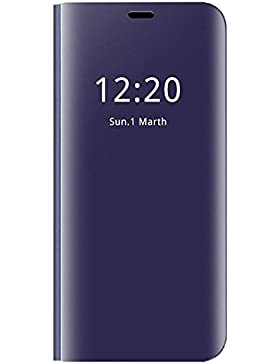 Funda Samsung Galaxy A8 2018 Inteligente Flip Cover Carcasa Hora Clear View Soporte Plegable Espejo Reflexión...