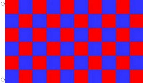 BANDIERA A SCACCHI ROSSI E BLU 150x90cm - BANDIERA SCACCHIERA ROSSA ED AZZURRA 90 x 150 cm - AZ FLAG