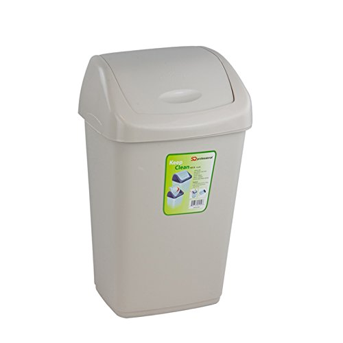 Plástico Swing Bin-Papelera con tapa, plástico, crema, 25 L