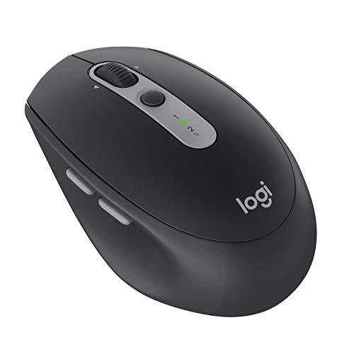Logitech M590 Silent Kabellose Maus, Bluetooth und 2.4 GHz Verbindung via Unifying USB-Empfänger, 1000 DPI Optischer Sensor, 2-Jahre Akkulaufzeit, PC/Mac - graphite/schwarz, Englische Verpackung