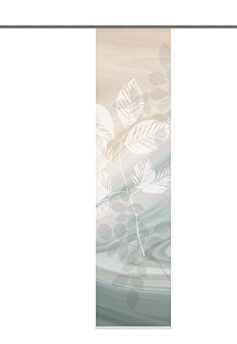 Home Fashion 87667-753 Toupillon - Panel japonés con impresión digital (con rieles y sujeciones, 245 x 60 cm), color verde y marrón