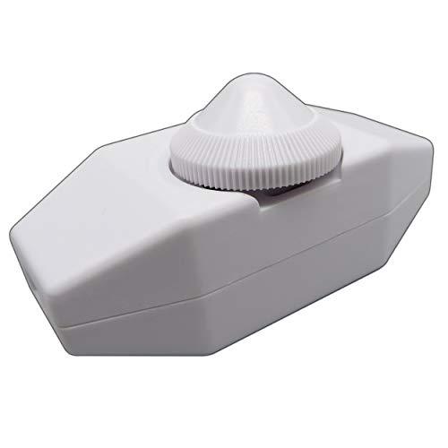 LED Dimmer (Schnur-Drehdimmer) 1-40 Watt stufenlos dimmbar/dimmen für dimmbare LED Leuchtmittel - Dimmschalter Schnur-Zwischendimmer Geräuschlos LED-Dimmer (weiß - zur Selbstmontage)