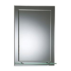 Schöner rechteckiger Badezimmerspiegel mit Ablage, modern und stylish, 2 Lagen Glass, mit abgerundeten Kanten, Wandbefestigung, Badspiegel, Wandspiegel, Spiegel 70cm X 50cm