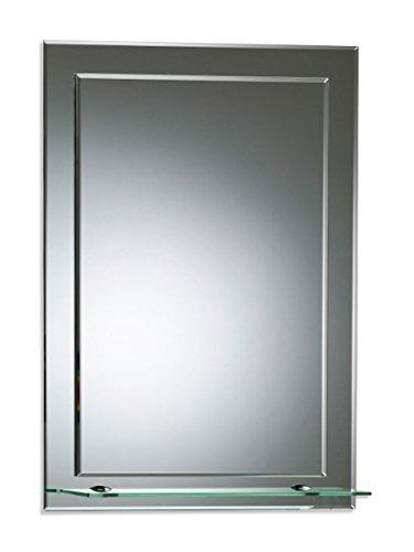 Bellissimo specchio da bagno rettangolare con mensola, moderno ed elegante, doppio vetro, angoli smussati, da parete 70cm x 50cm