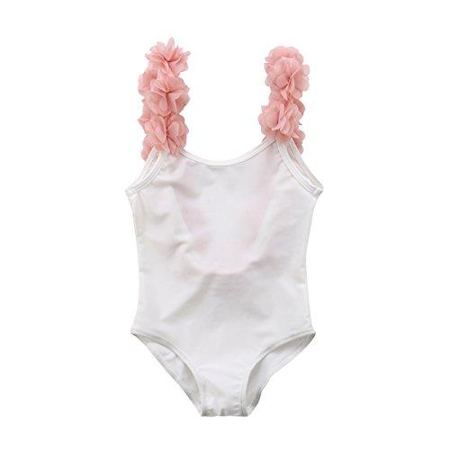 WangsCanis Baby Mädchen Schulterfrei Overall Bademode Elegant Blumen Schultergurt Rückenfrei Badeanzug Schwimmanzug (120/6-7Jahre alt, Weiß)