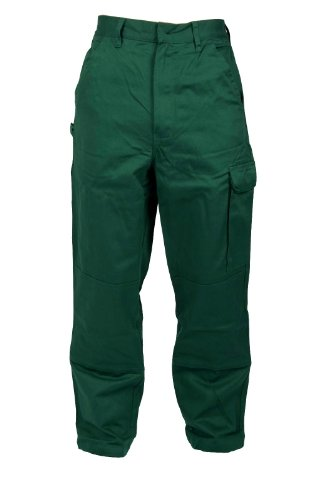 Stabile Bundhose Arbeitshose in Grün 100% Baumwolle IW087