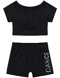 Alvivi Chicas Conjunto Corto de Gimnasia Traje Danza Tops Pantalones Cortos Deportivas Traje Baño Dos Piezas Niña Negro
