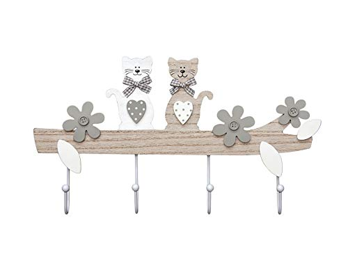 Perchero decorativo de madera para pared o puerta con diseño de gatos. Con cuatro ganchos blancos de metal, este colgador está decorado con dos gatitos y flores. Tiene dos anillas en forma de D de acero inoxidable en la parte posterior para colocarlo...