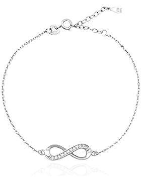 SOFIA MILANI Damen-Armband Infinity Unendlichkeit 925 Sterling-Silber Verstellbar mit 11 Zirkonia + Geschenkbox...
