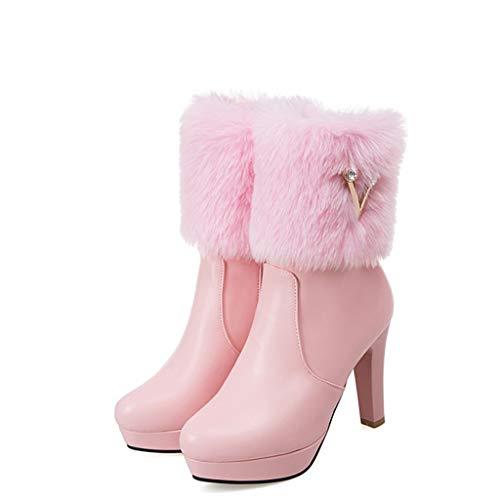 Junjie Herbest Winter High Heel warme Damen Stiefel Strass niedrige Stiefel Dicke Rhinestone Rhinestone Ferse Schuhe schwarz, rosa, weiß