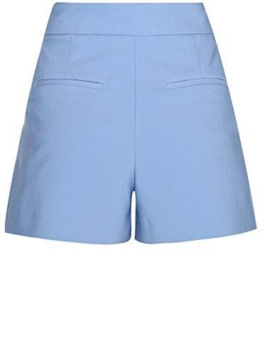 oodji Ultra Femme Short Trapèze à Taille Haute Bleu (7000N)