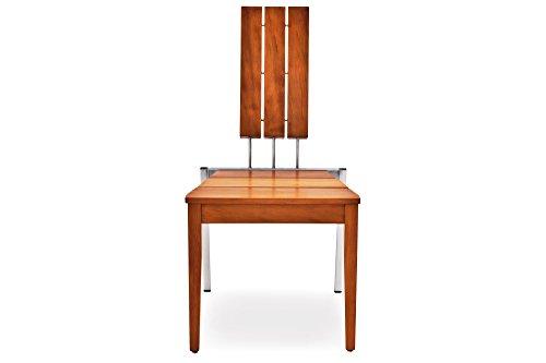 Garvida Sessel Arzia, Gartensessel in Natur, Garten-Stuhl aus Kauri-Holz und Edelstahl, Designstuhl mit ca. 52 x 50 x 99 cm
