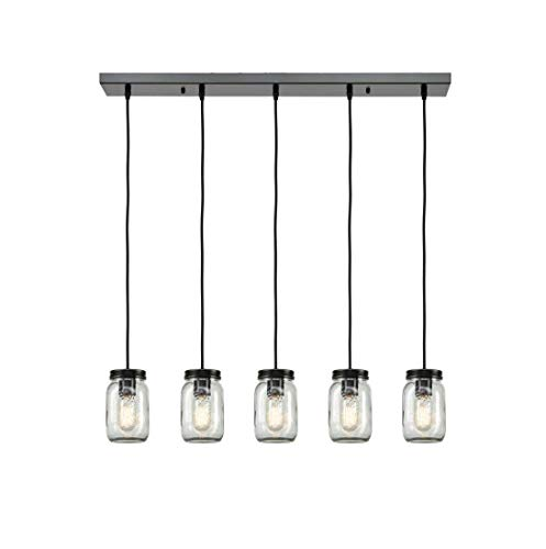 5 Licht Kronleuchter (LQUIDE Vintage Pendelleuchte Glas Lampenschirm 5 Lichter Industrie Kronleuchter Einmachglas Pendelleuchte Retro Schwarz Eisen für Wohnzimmer Kücheninsel Esstisch Bar Beleuchtung)