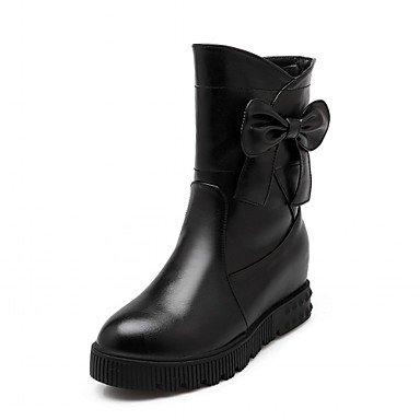 Rtry Femmes Chaussures Similicuir Hiver Printemps La Mode Bottes Bottes Bootie Wedge Talon Bout Rond Bottines / Bottines Bowknot Pour Le Mariage Casual Us10.5 / Eu42 / Uk8.5 / Cn43