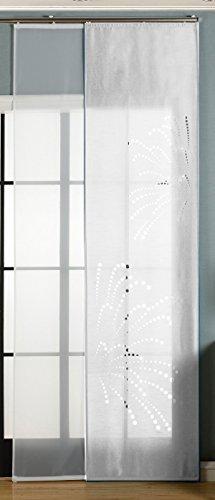 Gardinenbox 2er-Pack Schiebegardine Flächenvorhang Rodez Lasercut Wildseide Optik Voile, Weiß, 245x60 cm (HxB) inkl. Paneelwagen und Beschwerungsstangen, 165640
