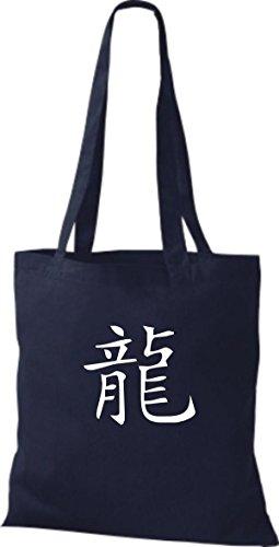 ShirtInStyle Stoffbeutel Chinesische Schriftzeichen Drache Baumwolltasche Beutel, diverse Farbe french navy