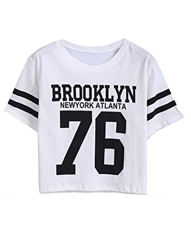 Brooklyn Kinder T-shirt (Siennaa Top Damen Sommer Shirt, Teenager Mädchen Streifen Brooklyn 76 Crop Tops Gestreift Bauchfrei Shirt Bluse Baseball New York Oberteil Kurzes Tank Top Hemd Frauen Kurzarm T Shirt (Weiß, XXL))