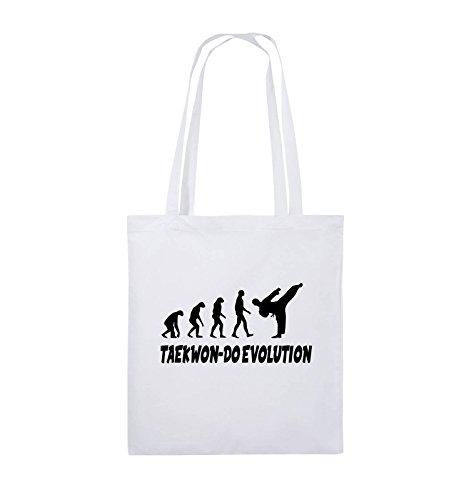 Comedy Bags - TAEKWON-DO EVOLUTION - Jutebeutel - lange Henkel - 38x42cm - Farbe: Schwarz / Pink Weiss / Schwarz