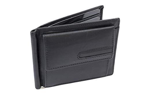 LEAS Dollar Clip mit Kleingeldfach RFID Geldscheinklammer flach Geldklammer Money Clip extra dünn für 8 Karten Echt-Leder, Portmonee mit Geschenk Box, schwarz -