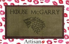 70cm x 40cm Green / Brown Washable Door Mat Game of Thrones HOUSE PERSONALISED STARK EMBLEM by ARTISAN KISS