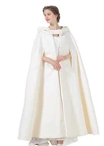 BEAUTELICATE Umhang Damen Mit Kapuze Wollmischung Poncho Hochzeit Braut Winter Voller Länge Cape Halloween Kostüm Weihnachten