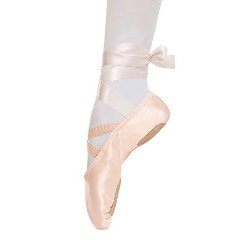Ballettschuhe Rosa Ballettschläppchen Tanzschuhe aus Satin mit Band Geteilte Ledersohle für Kinder und Erwachsene 34 EU