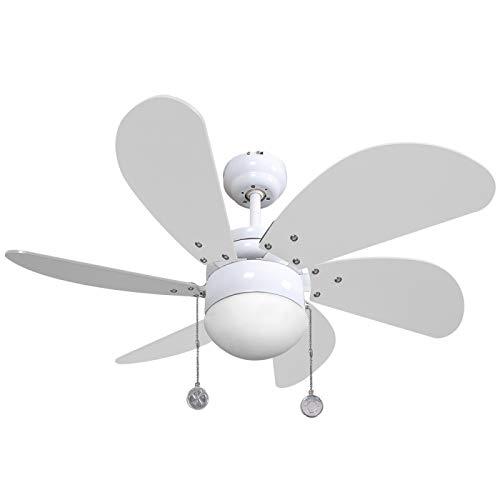AkunaDecor Deckenventilator mit LED-Licht und Fernbedienung 009, 75cm, Weiß