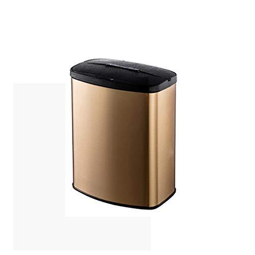GuangXin Bote de Basura automático sin Contacto, Bote automático sin Contacto con Filtro Absorbente de olores Sensor Ajustable Cubo de Basura de Cocina con Tapa Que detecta el Movimiento,TuhaoGold