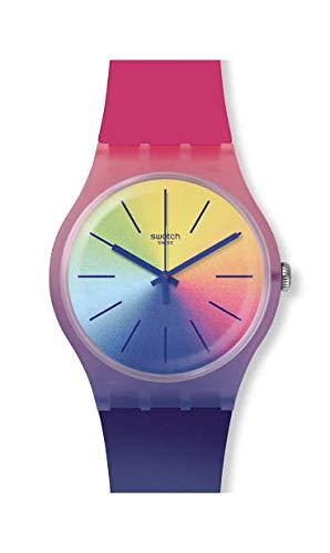 Swatch Unisex Erwachsene Analog Quarz Uhr mit Silikon Armband SUOK143